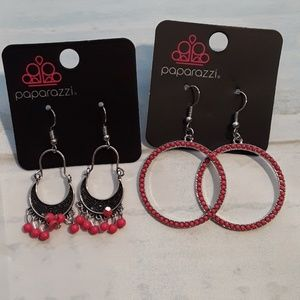 Paparazzi bundle pink and silver earrings